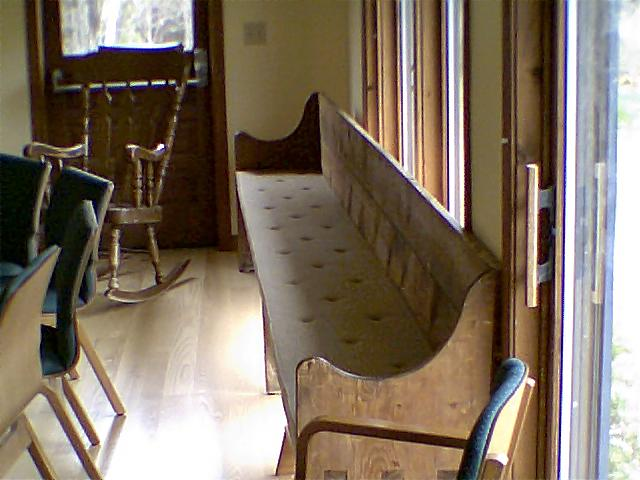 Historic bench in the Meeting House- 2009